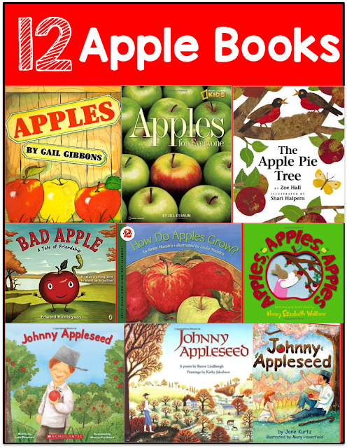 12 Best Books to read about apples for kindergarten and first grade.  All about apples and John Appleseed.