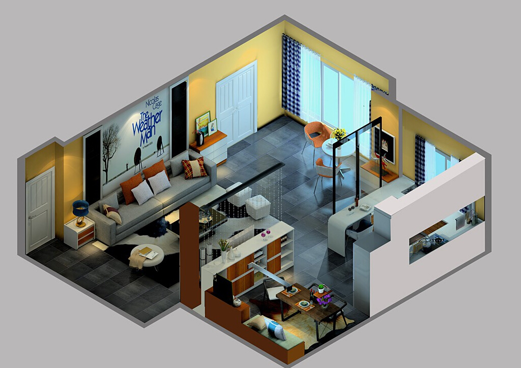 Sky-view-of-practical-style-house-with-gray-tiled-floor 35 Sky View 4D American House Plan Styles Interior