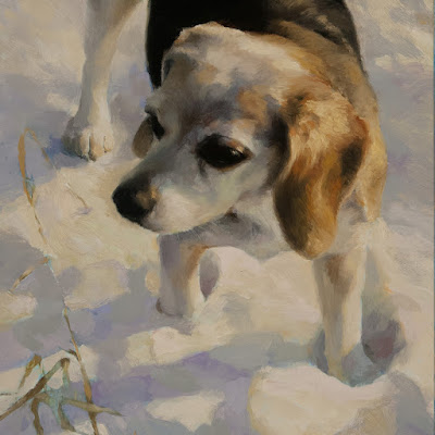 oil painting of a beagle in snow, detail, © Shannon Reynolds 2016