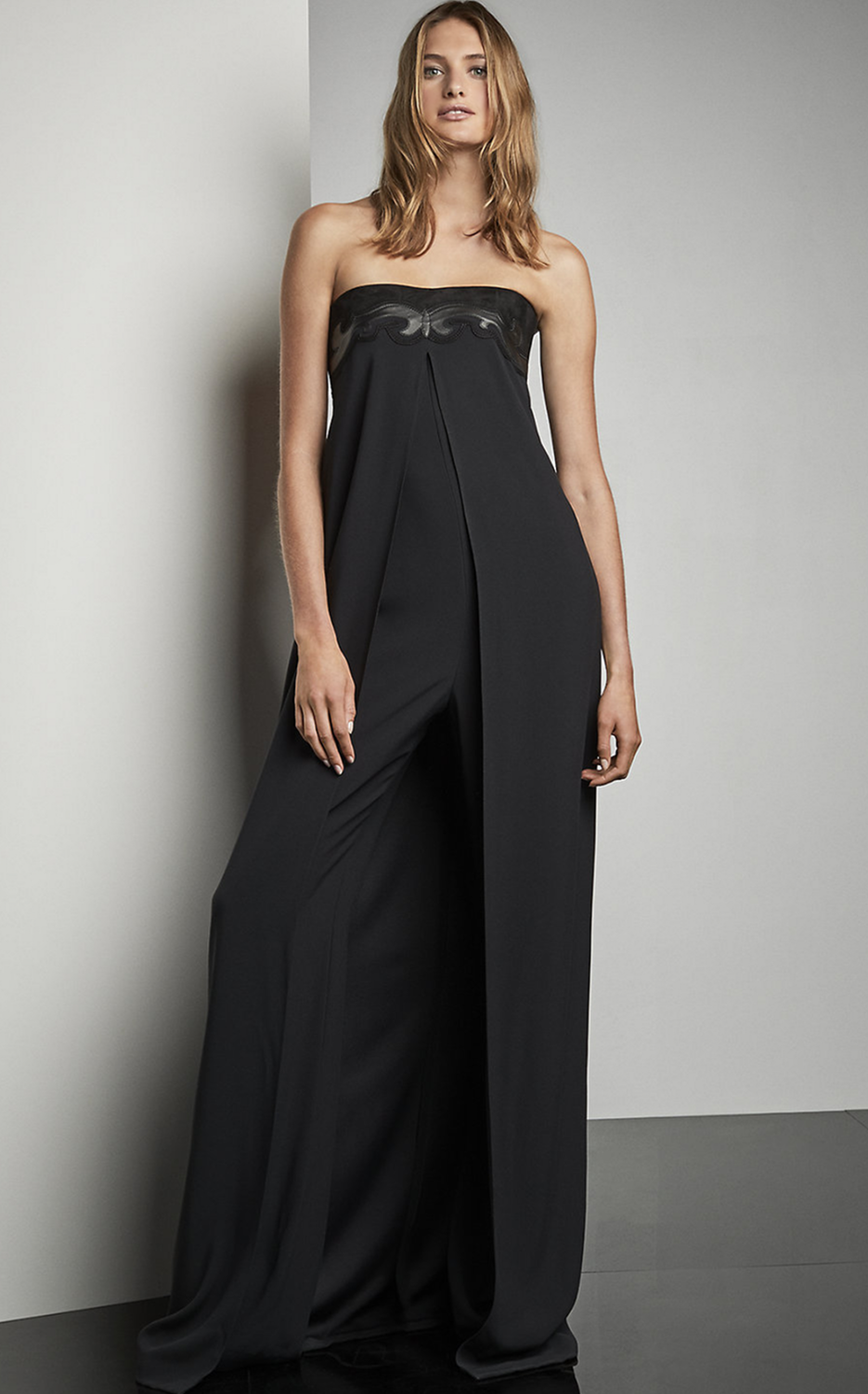 Ralph Lauren Madison Leather Trim Jumpsuit