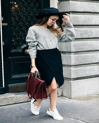 faldas midi negra con corte en la pierna casual