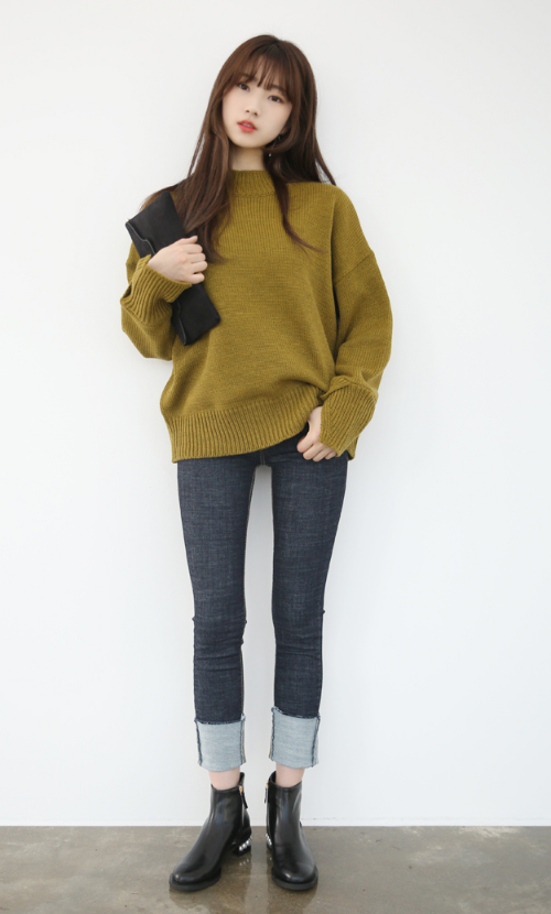 Extended Sleeve Folded Over Cuff Sweater