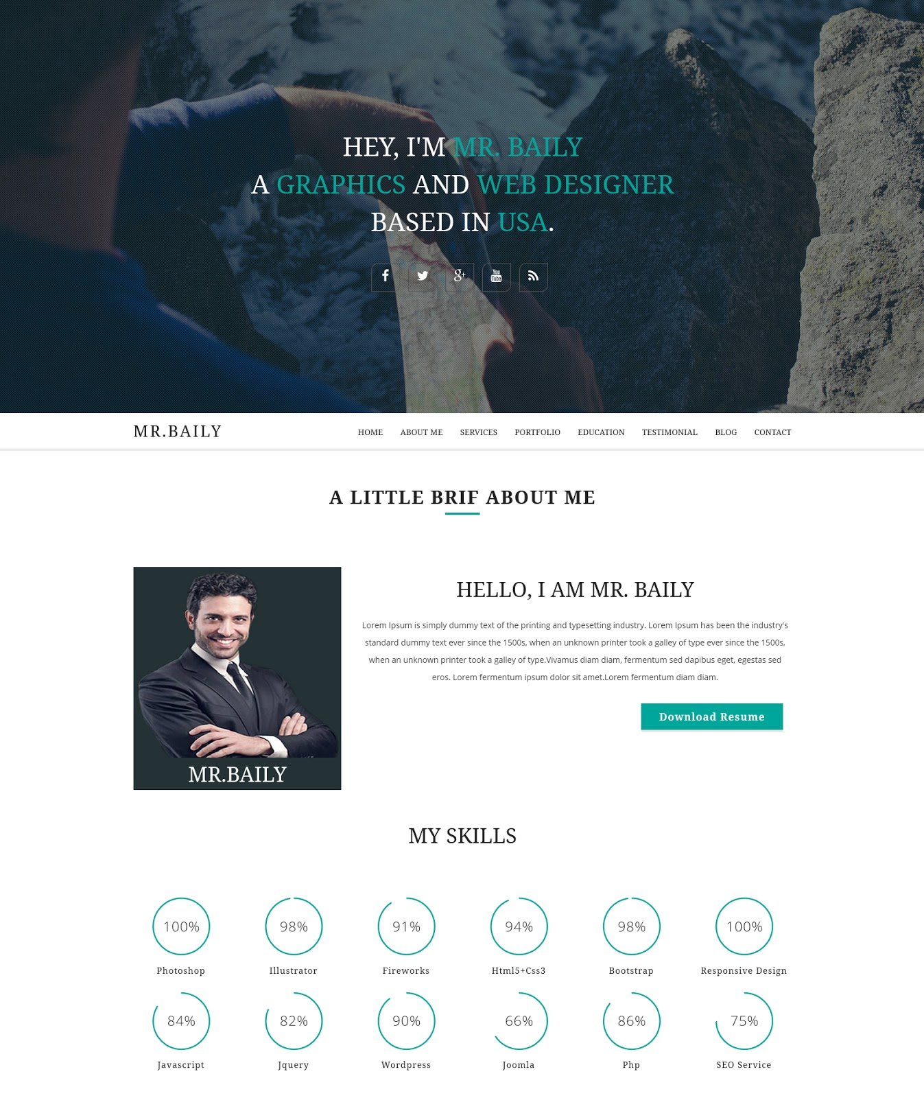 baily responsive resume template javascript php