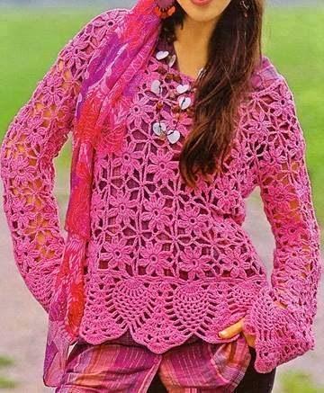 Blusa de flores rosada a Crochet