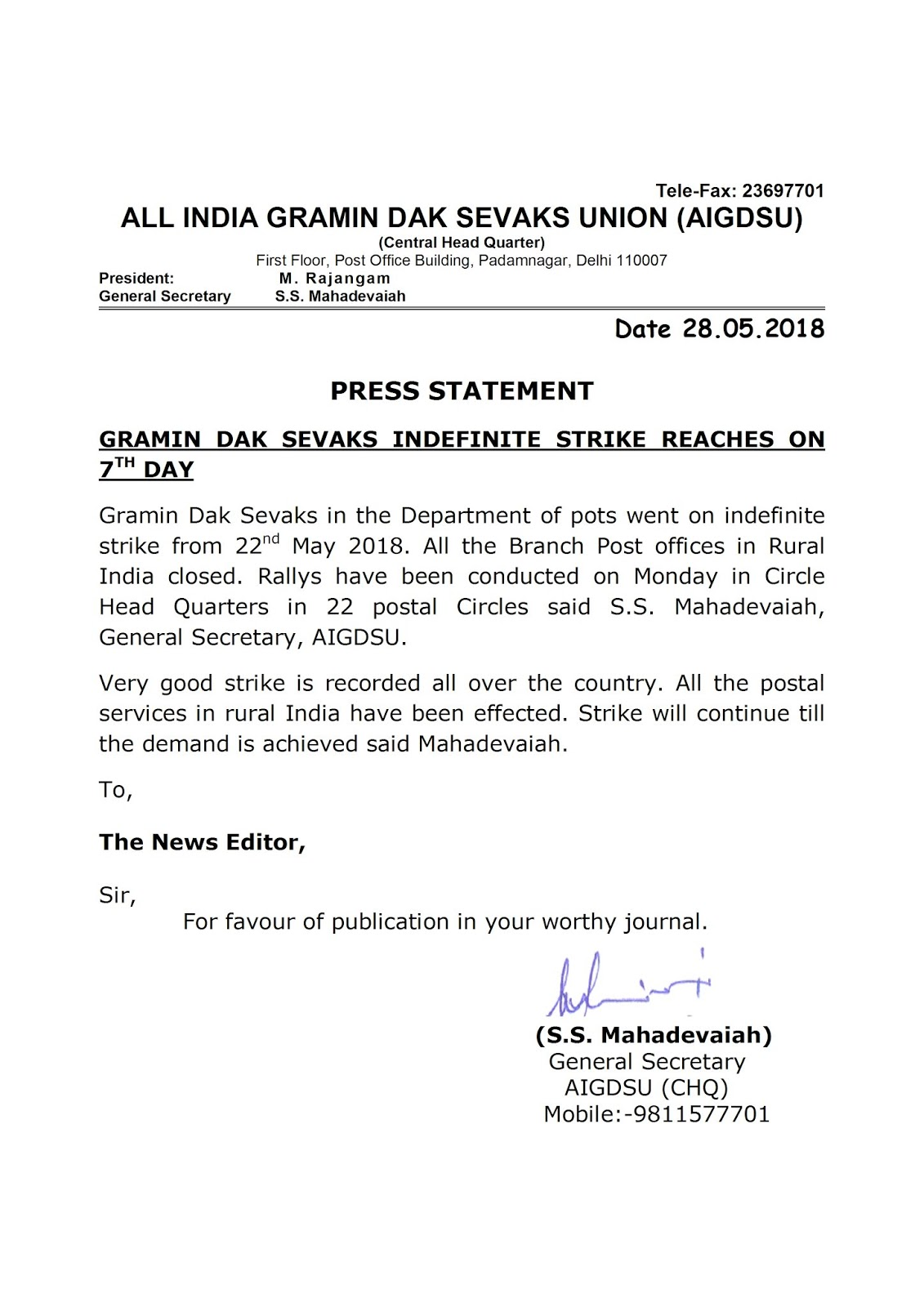 GDS Indefinite Strike : 7th Day Press Statement