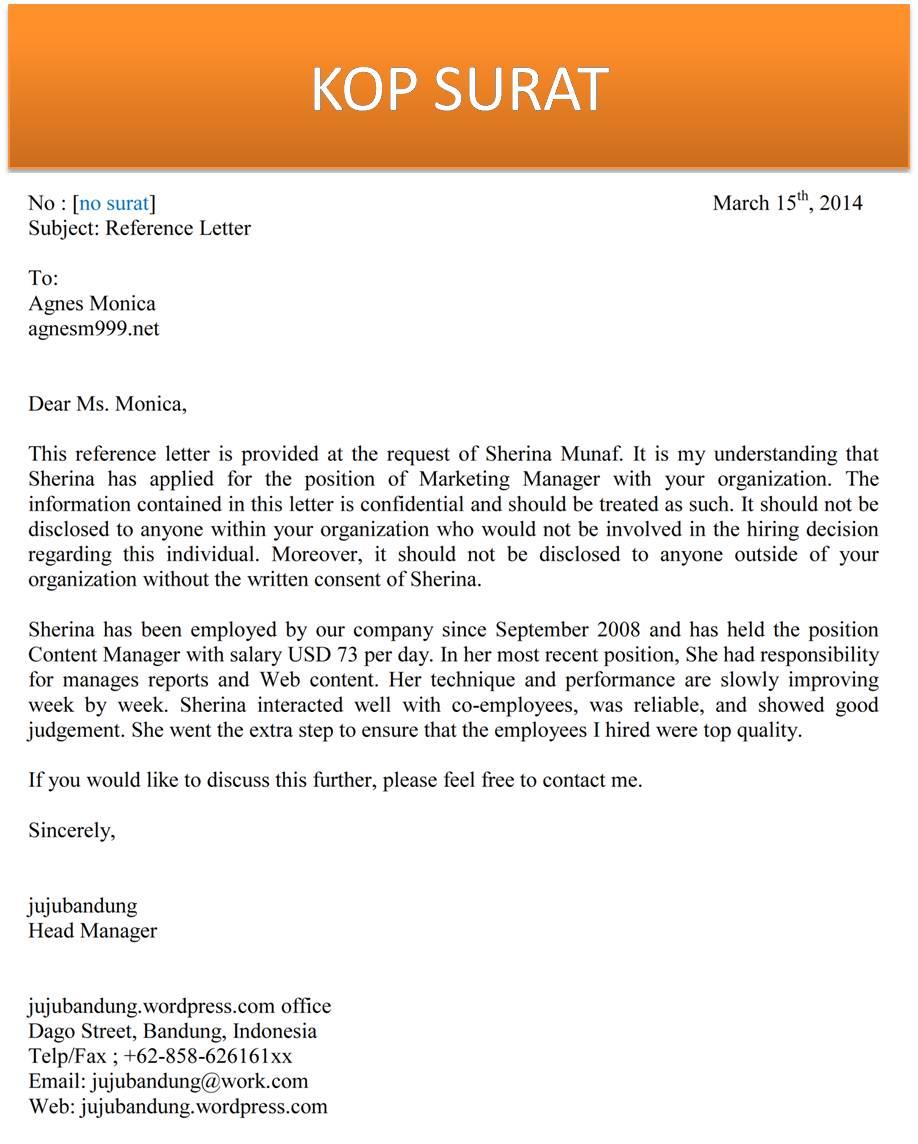 surat rekomendasi bisnis