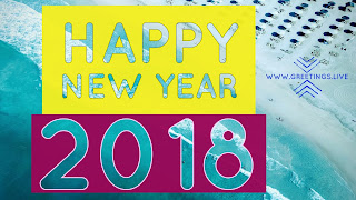 Happy New Year Greetings with yellow colored fonts