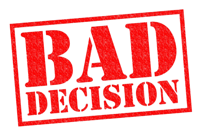 bad decisions Several years ago we came up with a great idea for a new leadership-development offering we thought would be valuable to everyone we had research demonstrating that when people embarked on.