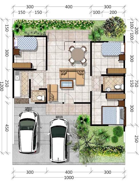 45 dengan carport yang cukup luas , Referensi Denah Rumah Minimalis