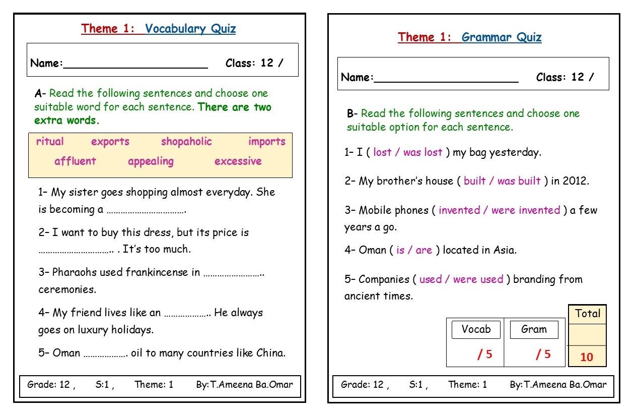 Englishplanet31 Grade 12 Theme 1 Vocabulary And Grammar Quiz