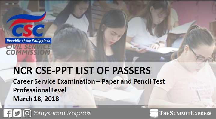 NCR Passers: March 2018 Civil service exam results CSE-PPT (Professional Level)