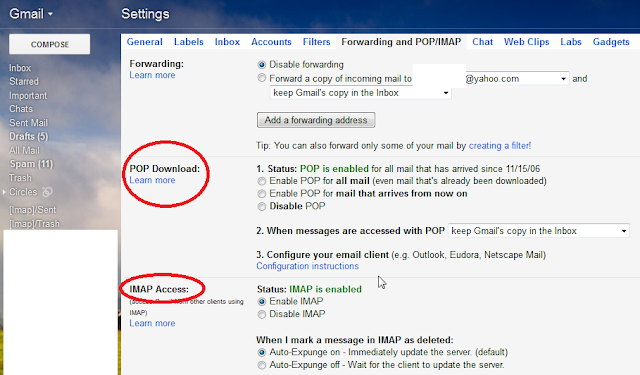 Enable IMAP access on Gmail