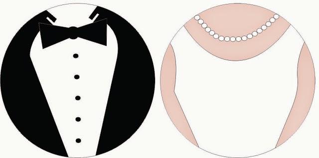 trajes de novio y vestidos de novia: toppers o etiquetas para