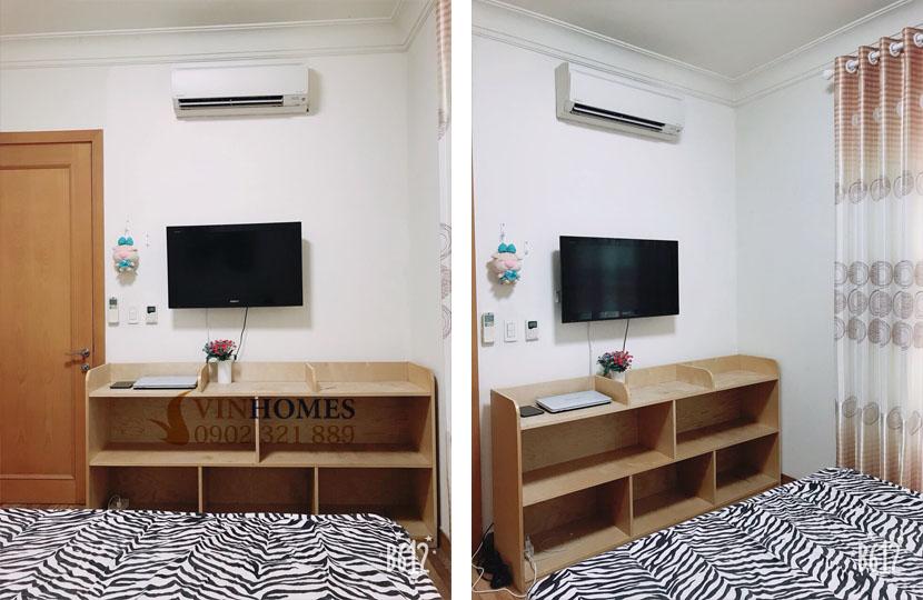 thuê căn hộ 4 phòng ngủ Landmark 1 tầng 15 nội thất đẹp | tivi tại phòng ngủ 3