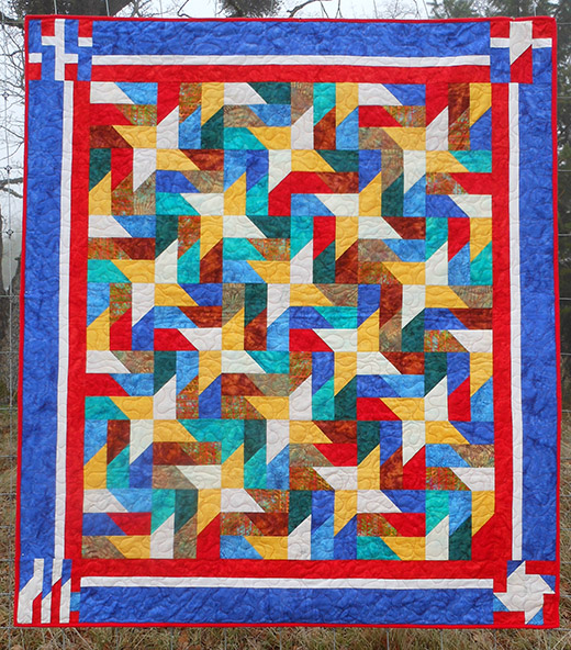 Picket Fence Quilt Free Pattern designed by Cindy Roche of Quilts of Valor