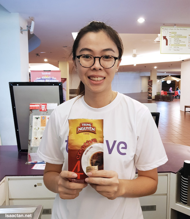 The nice lady behind the counter, introducing to us Tealive's latest upcoming flavour