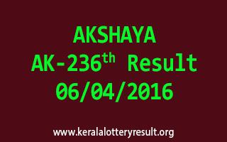 AKSHAYA AK 236 Lottery Result 6-4-2016