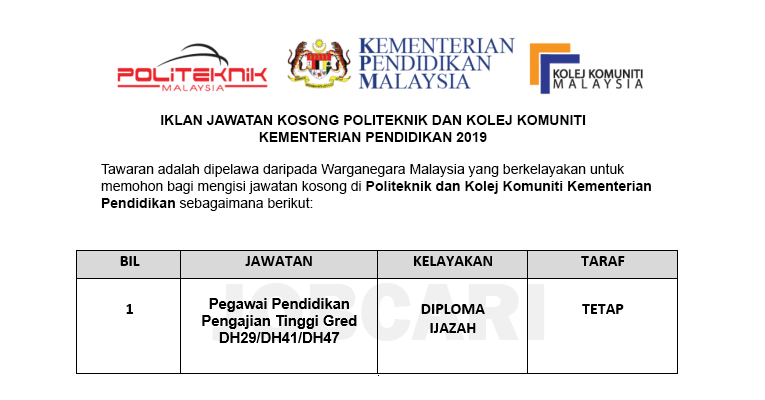 Jawatan Kosong di Politeknik dan Kolej Komuniti Kementerian Pendidikan Malaysia
