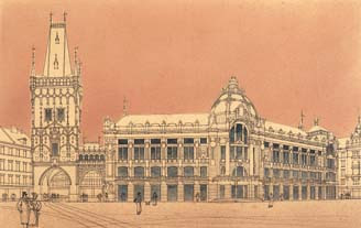 """Balsanek, Antonin - Oecni dum, perspektiva (1903)"" od Antonín Balšánek – http://www.digital-guide.cz/de/realie/architekten/antonin-balsanek-3/. Licencováno pod Volné dílo via Wikimedia Commons - https://commons.wikimedia.org/wiki/File:Balsanek,_Antonin_-_Oecni_dum,_perspektiva_(1903).jpg#/media/File:Balsanek,_Antonin_-_Oecni_dum,_perspektiva_(1903).jpg"