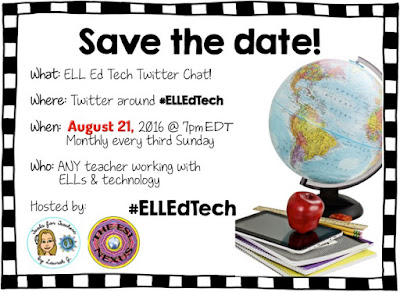 Join us as we discuss tools for helping teachers learn more about working with ELLs in the next #ELLEdTech Twitter chat on August 21, 2016 | The ESL Connection