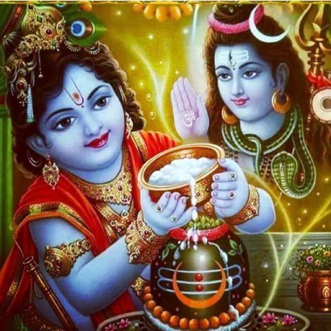 God Krishna Picture with Shiva