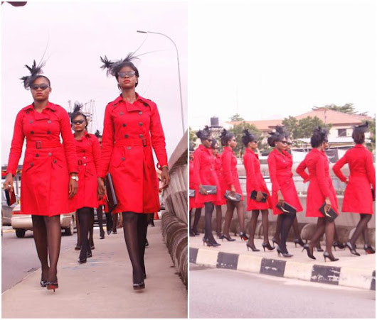 These Ladies in red sets twitter on fire, causes commotion on Lagos Island {see photos