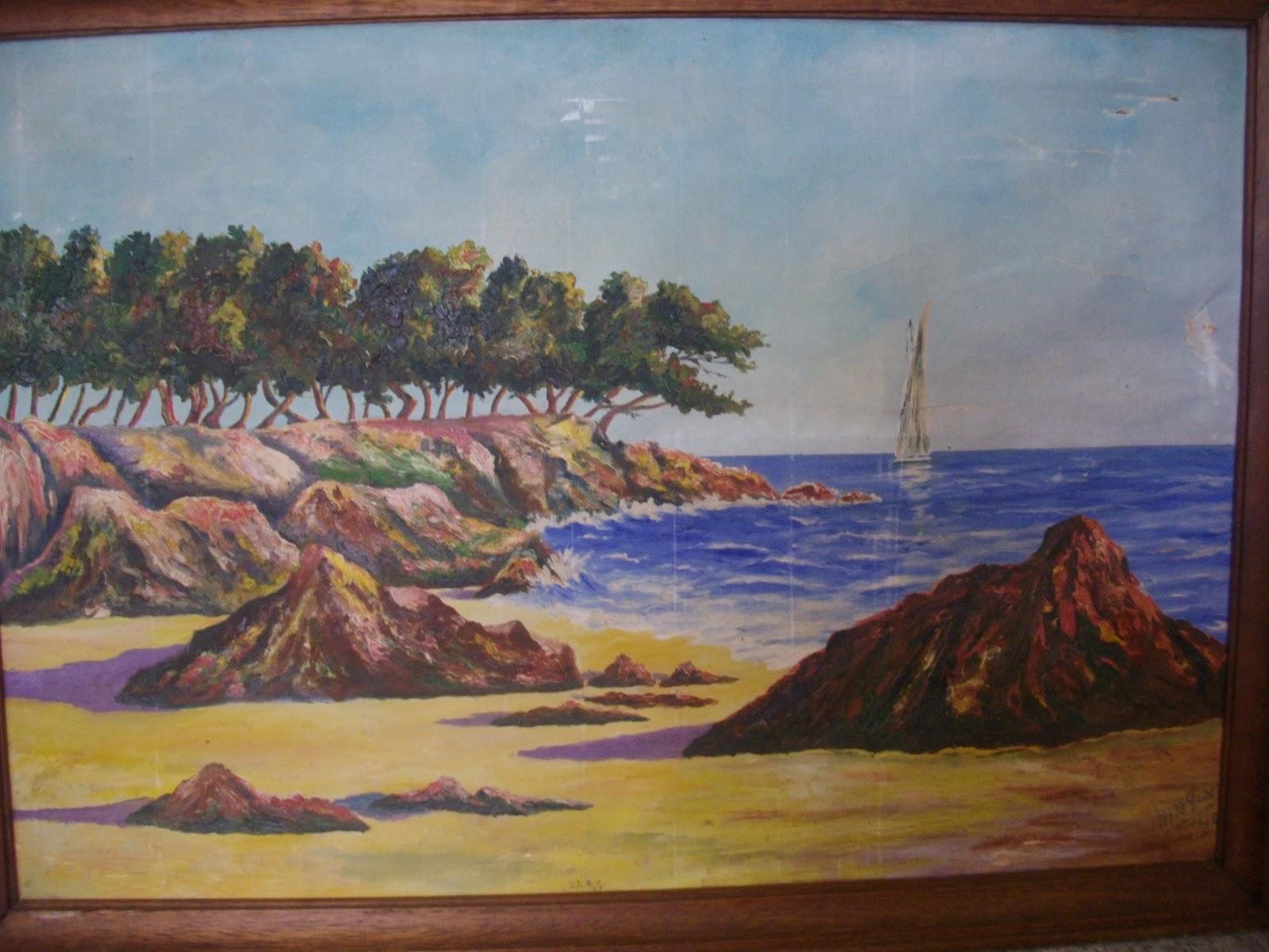 ancienne paire de tableaux marine bord de mer cote d 39 azur sign. Black Bedroom Furniture Sets. Home Design Ideas
