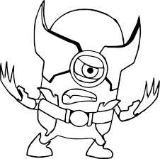 Cute Xman Minion Version Coloring Sheet