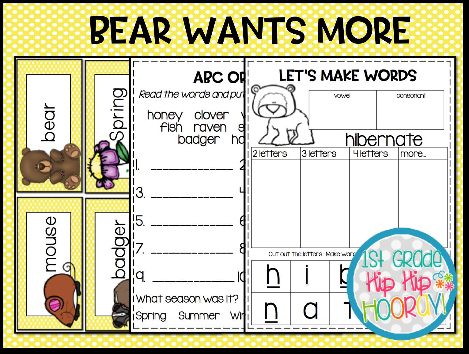 1st Grade Hip Hip Hooray Spring Literacy Suggestion