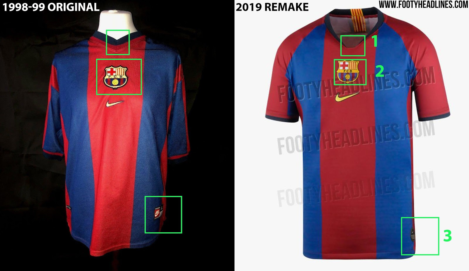 f86f58c3f Every Detail Compared  Nike FC Barcelona 1998-99 vs 2019 Remake ...