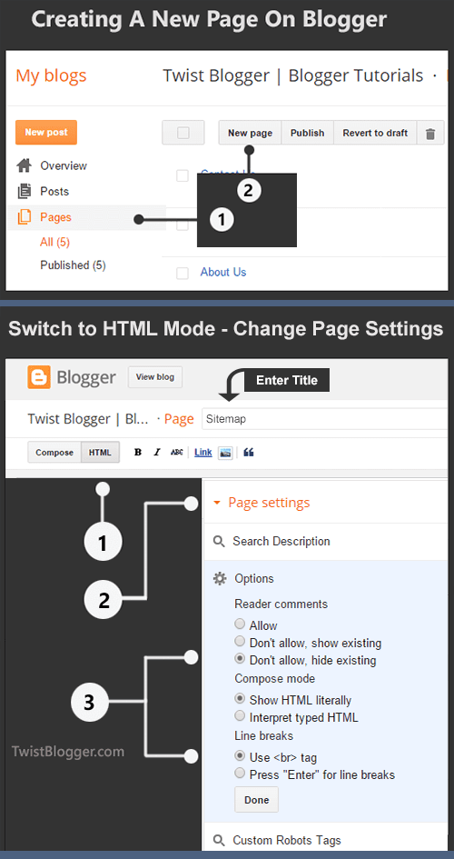 Creating A New Page On Blogger