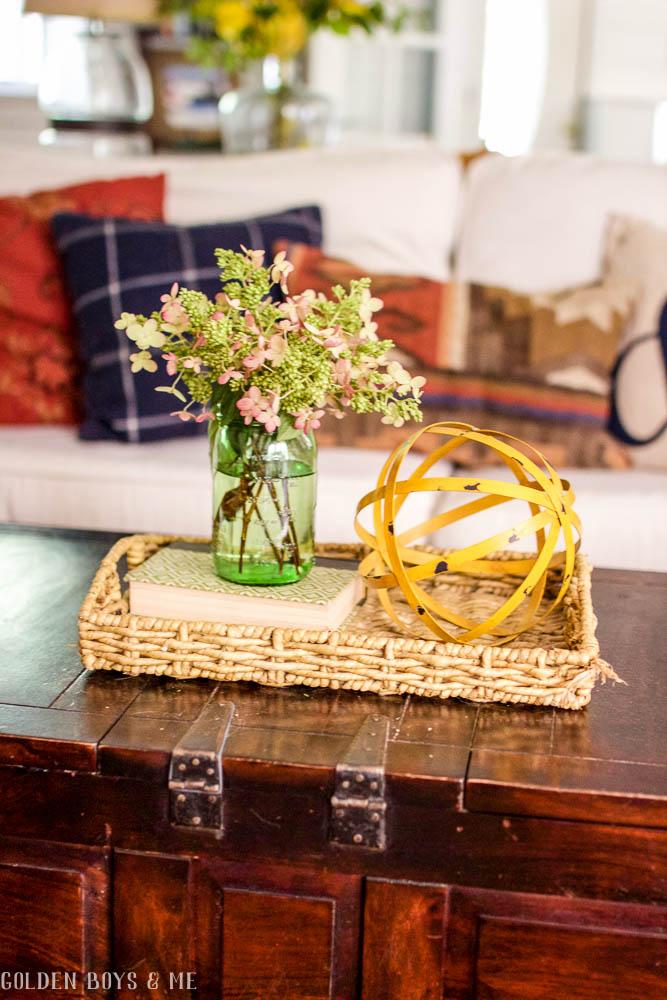 Coffee Table Styling idea with basket, book and dried hydrangeas - www.goldenboysandme.com