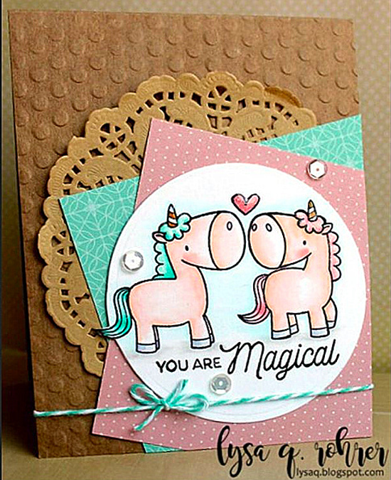 Birdie Brown Magical Unicorns stamp set and Die-namics - Lysa Q. Rohrer #mftstamps