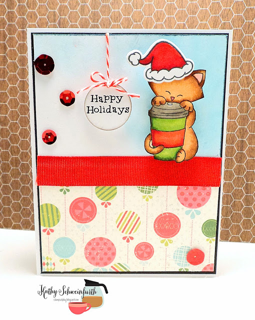 IPC 38 Favorite | Kitty Christmas Card by Kathy Schweinfurth | Newton Loves Coffee stamp set by Newton's Nook Designs #newtonsnook