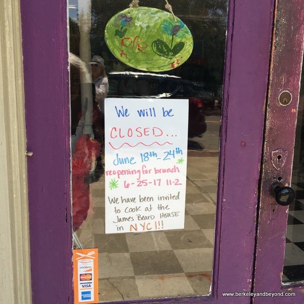 sign on door of Juniper restaurant in Ridge Spring, South Carolina