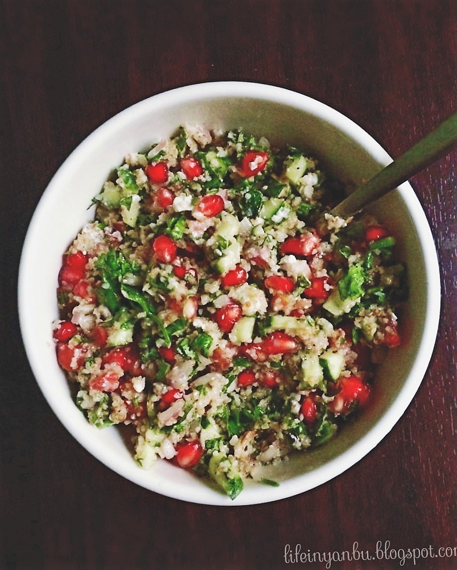Tabbouleh with Pomegranate and Feta Cheese