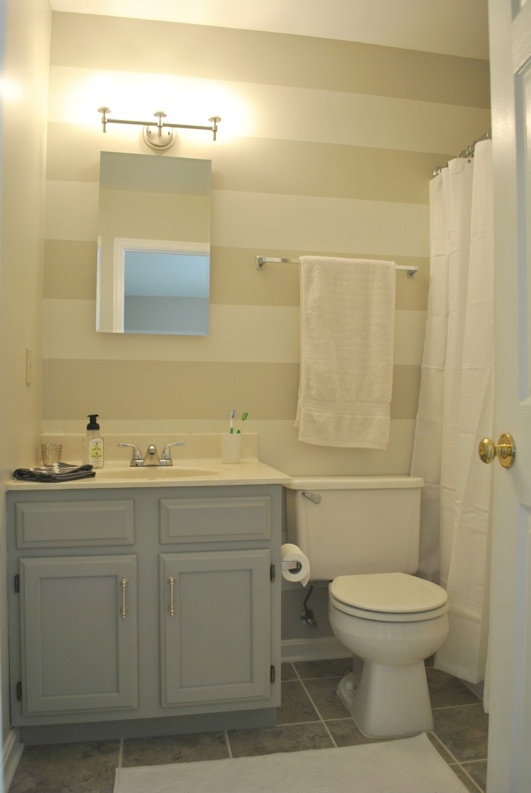 A o on the go budget master bath make over after for Small bathroom designs no toilet
