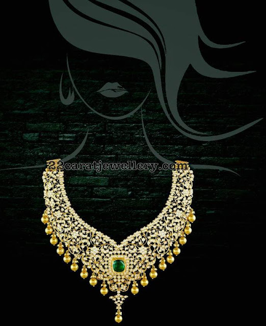 Diamond Floral Necklace with Gold Drops