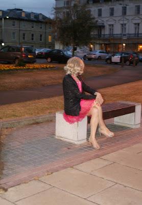 Cross-dressing sissy wears pink prom dress in public