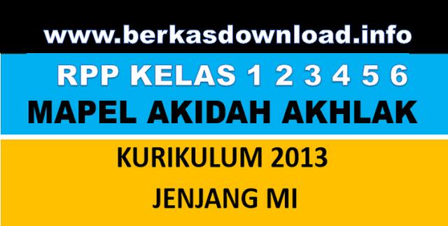 RPP Mata Pelajaran (Mapel) Akidah Akhlak Madrasah Ibtidaiyah (MI) Kelas 1,2,34, 5, 6