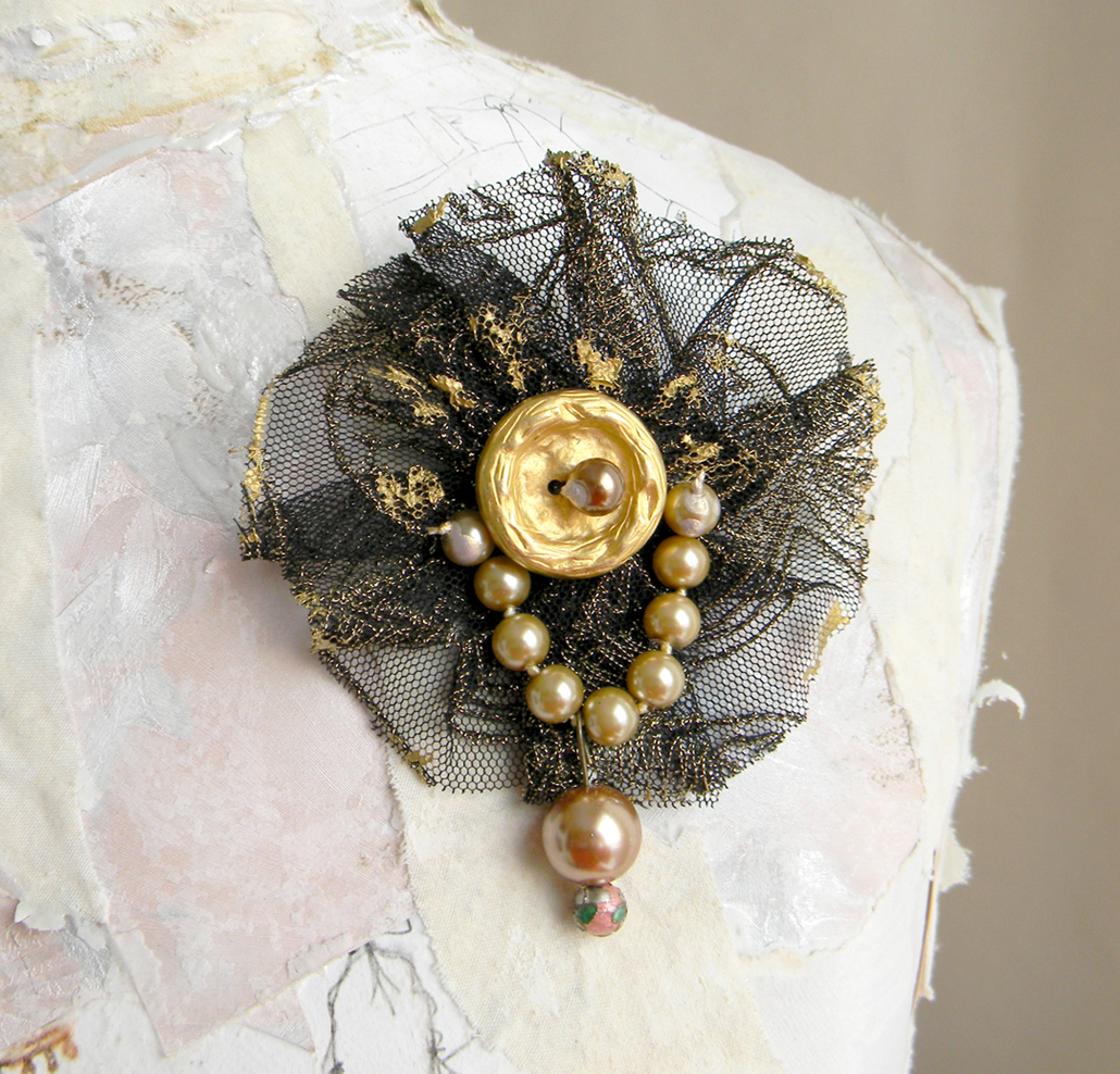 Handmade Brooch Victorian Steampunk Pin Textile Jewelry