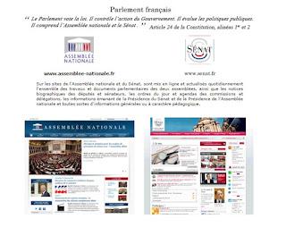 web para decidir donde acceder a la web del senado o congreso frances