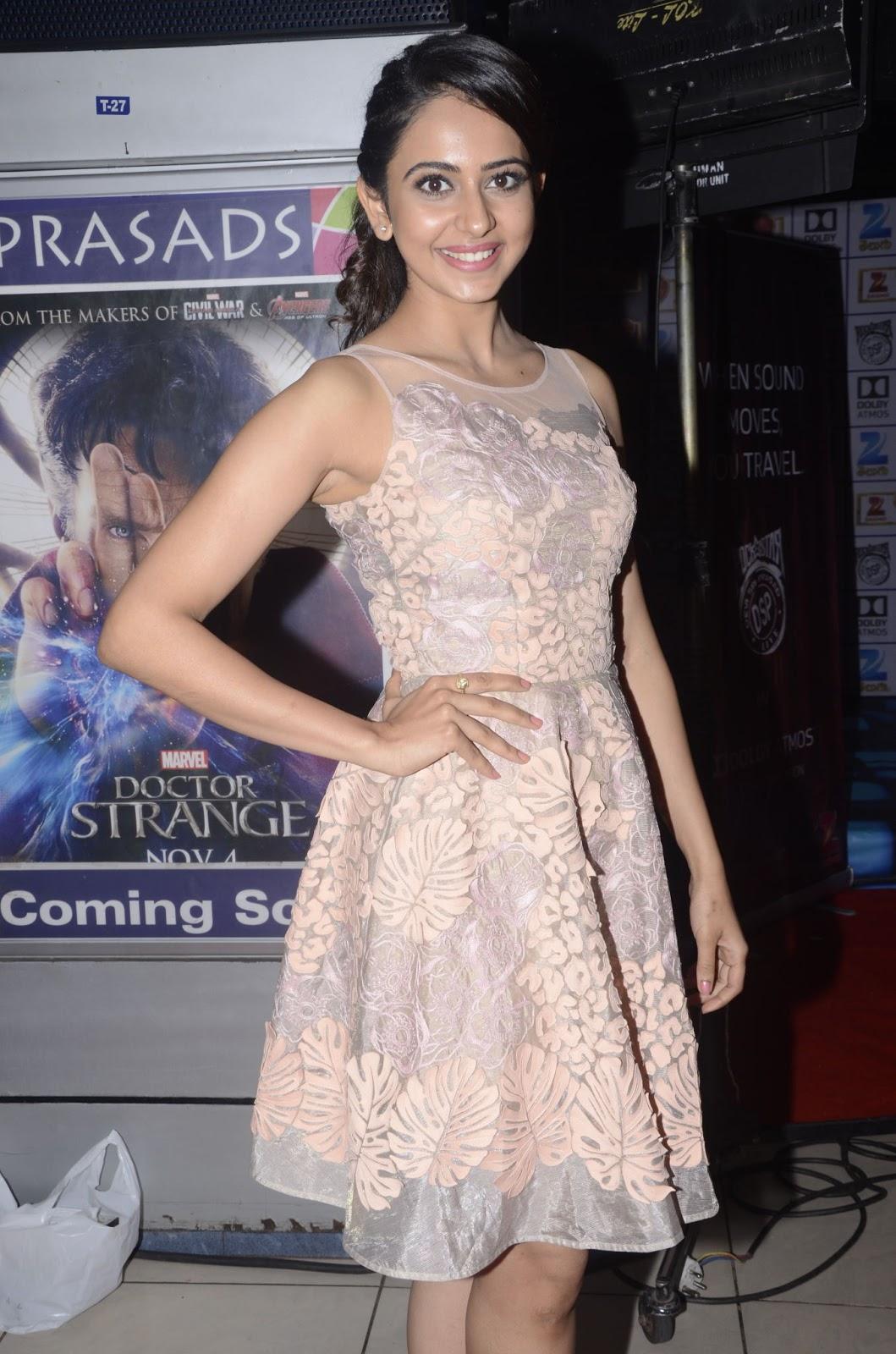 Rakul Preet Singh Hot Photos At Live Event In Short Pink Dress