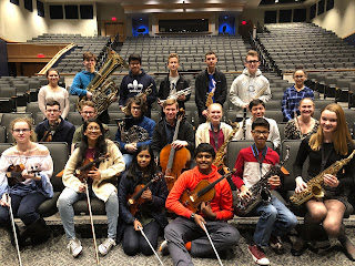Twenty one members of the Franklin High School music program