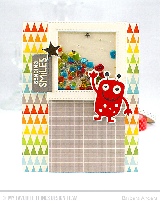Handmade card from Barbara Anders featuring Monster Love stamp set and Die-namics, Stitched Square Frames, Blueprints 16, and Blueprints 29 Die-namics #mftstamps