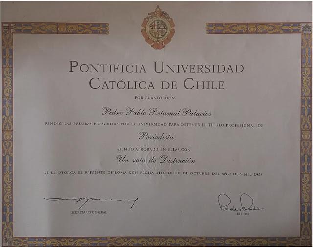 Titulo persiodista PUC Pedro Pablo Retamal