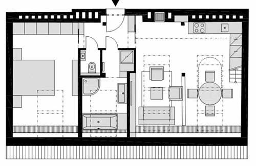 Pianta del primo piano di una ristrutturazione di un piccolo loft a Praga