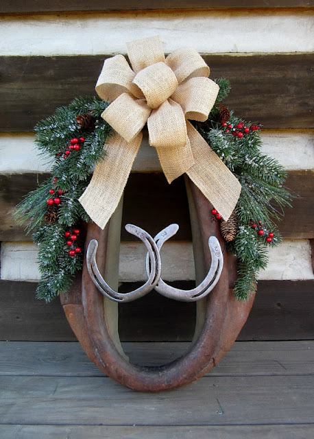 repurposed horseshoe and horse harness Christmas wreath featured at MySalvagedTreasures.com
