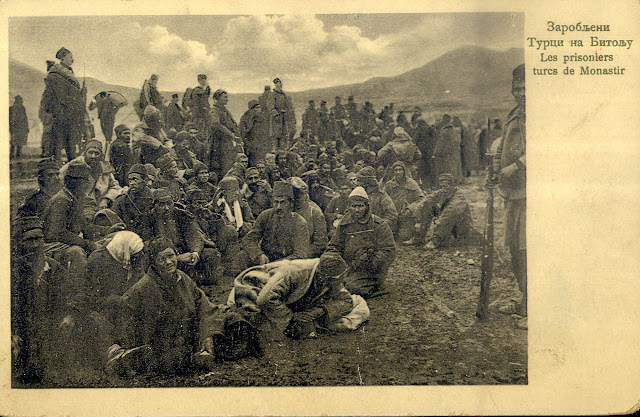 Serbian postcard - Captured Turkish soldiers in Bitola - First Balkan War