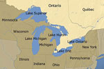 Mapa de la región norteamericana de los Grandes Lagos